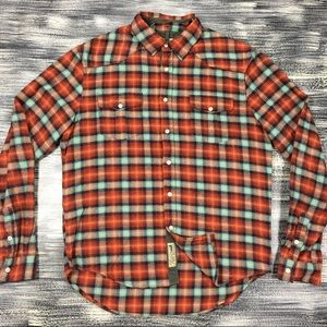 Men's Jachs Flannel Shirt Sz L Front Button Plaid